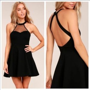 Lulus light & grace mesh halter neck skater dress